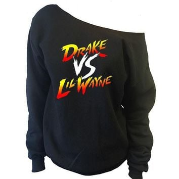 Drake vs Lil Wayne Off-The-Shoulder Oversized Slouchy Sweatshirt