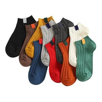 1 Pair Women's Sock Colorful Design Art Cute Short Socks Warm High Quality Autumn Winter Cotton Solid Color Female Socks Hosiery