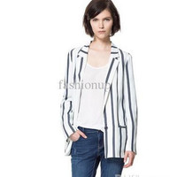 New 2013 Fashion Black White Stripe Blazers Casual Womens Outwear Slim European Style Clothing Autumn One Button Tops Size S/M/L YY8-625
