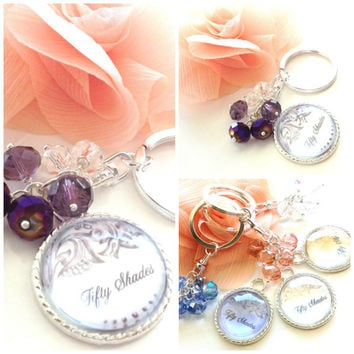 Fifty Shades Silver Plated and Swarovski AB Crystals Key Chain