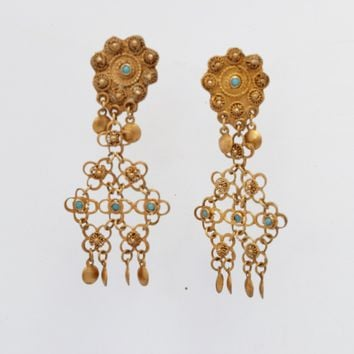 Vintage Middle East Sterling Silver, Gold Gilt and Turquoise Filigree Earrings