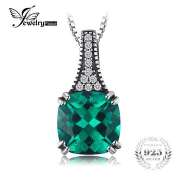 JewelryPalace Classic 2.1 ct Cushion Created Emerald Necklaces Pendants Solid 925 Sterling Silver 45cm Box Chain Vintage Jewelry
