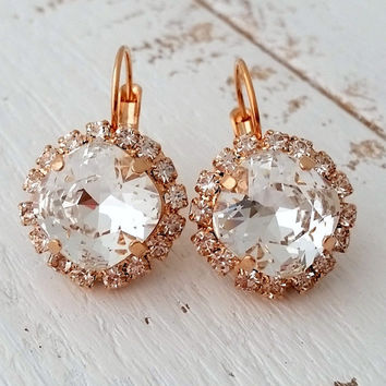Rose gold earrings,rose gold bridal earrings,crystal bridesmaid earrings,clear crystal drop earrings,rose gold drop earrings, Dangle earring