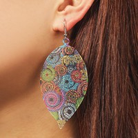 Fashion hollow-out leaf printed earrings retro ethnic style earrings pendant metal color earrings