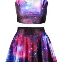 Pink Queen® Galaxy Print Crop Tank Top/Pleated Skater Skirts Set For Women