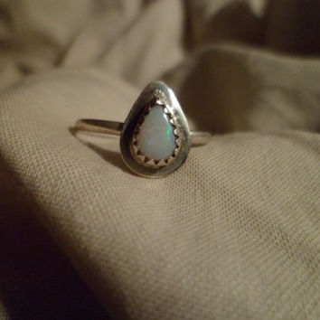 Authentic Navajo,Native American,Southwestern,sterling silver teardrop opal ring. Can be knuckle,pinky ring 8 1/4 size.