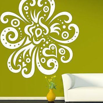 Wall Vinyl Sticker Big Exotic Flower Very Beautiful Decorative Image Unique Gift (n135)