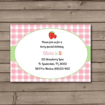 Strawberry Pink and Green Gingham Birthday Party Invitations