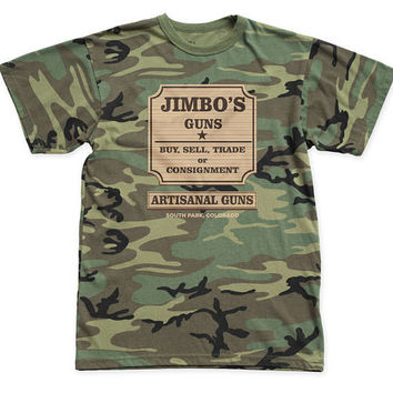 South Park Jimbo's Guns Traditional 18/1 Men's Cotton Tee (PARK15) Woodland Came