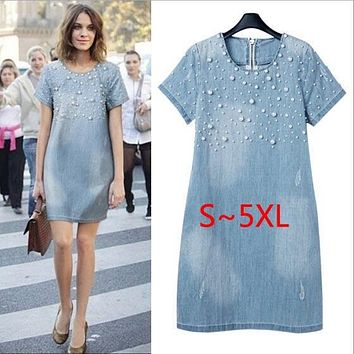 Large size 5XL Sundress Jeans Women's casual plus size vestidos embroidery beaded Denim Dresses big sizes Party Summer Dress