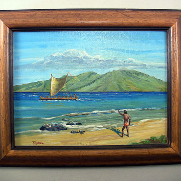 SOLD!  Vintage Hawaiian Painting Signed Tillotson Beach Tiki