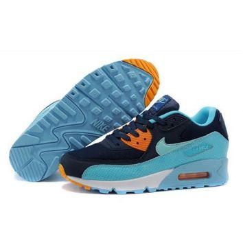 Nike Air Max 90 PRM Men s Women s Shoes Navy Mint Blue Orange