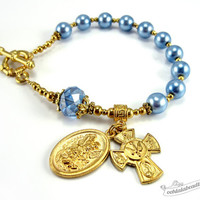Blue Pearl Rosary bracelet pocket rosary blue chaplet St Michael Guardian Angel rosary confirmation gift travel size rosary Four Way Cross
