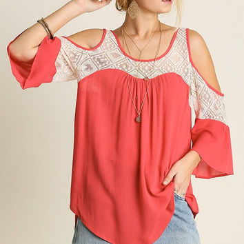 Open Shoulder Top - Coral