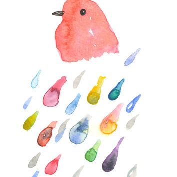 Bird Watercolor, Bird in the Rain, Colorful Bird, Bird Art, Bird Print, Rain Art, Rain Print, Rain Watercolor, 8x10, Pink, Raindrop Print