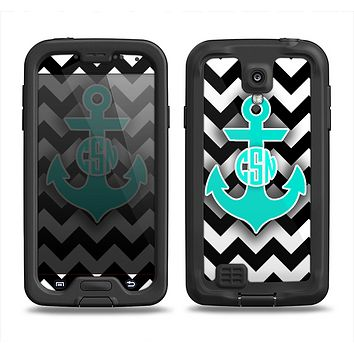 The Teal Green Monogram Anchor on Black & White Chevron Samsung Galaxy S4 LifeProof Fre Case Skin Set