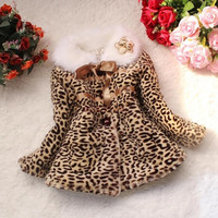 Children Girls Leopard Faux Fox Fur Collar Coat Clothing Winter Wear Clothes Outerwear Kids Jackets SV008289|27701 Children's Clothing = 1932681476