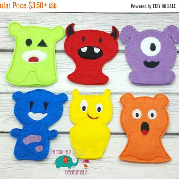 On Sale 15% Off Monster finger puppets embroidered, puppet, kids, children, toys, games, make believe, pretend play, felt, halloween