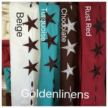 4 Pieces Western Texas Design Star 1800 Egyptian Comfort Bed Sheet Set Deep Pocket Count Wrinkle & Fade Resistant (Queen, Rust Red/ Star Chocolate)