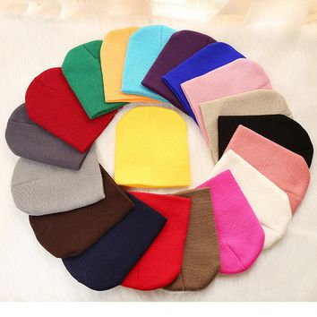 Solid Beanies Hat for Kids Baby Autumn Winter Knitted Bonnet Hats Warm Soft Cotton Woolen Skullies Cap for Toddler Baby Girl Boy