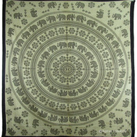 Black Elephant Mandala Hippie Wall Hanging Bohemian Tapestry Bed Cover Home Decorative Art