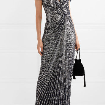 Jenny Packham - Avani knotted sequined tulle gown