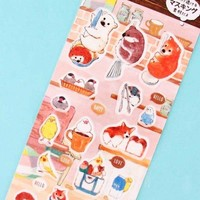 Kawaii Animals Masking Seal Stickers - In the Kitchen