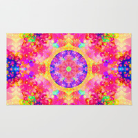Pink and Yellow Kaleidoscope Fractal Pattern Area & Throw Rug by Hippy Gift Shop
