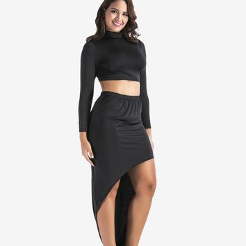 Plus Size Two Piece  Long Sleeve Turtleneck Crop Top + High Waist Asymmetric Maxi Skirt