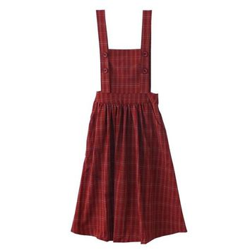 Summer Fashion Plaid Suspender Dress Japanese Mori Girl Vntage A Line Pleated Shoulder Straps Classic Lattice Overall Midi Dress