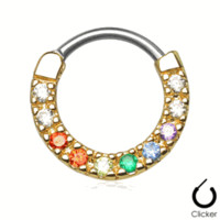 Septum Clicker 16ga with Colorful CZ Gems
