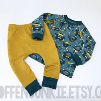 Baby and Toddler Boys Outfit, Monsters Kids Outfit, Handmade Baby Boy Clothes, Friendly Monsters on Blue and Ocher, European Kids Style
