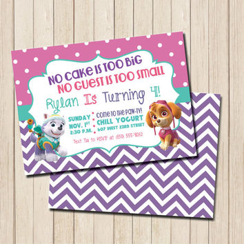 Paw Patrol Girl's Birthday Party Invitation - PRINTABLE Skye and Everest Birthday Invite