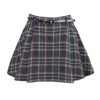 Navy Tartan Printed Mini Skirt With Pleats at Fashion Union