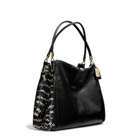 MADISON SMALL PHOEBE SHOULDER BAG IN TWO TONE PYTHON EMBOSSED LEATHER