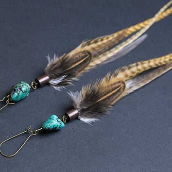 Long feather earrings with turquoise Earrings Long Native american Indian jewelry Ethnic earrings Tribal jewellery Turquoise stone Bohemian