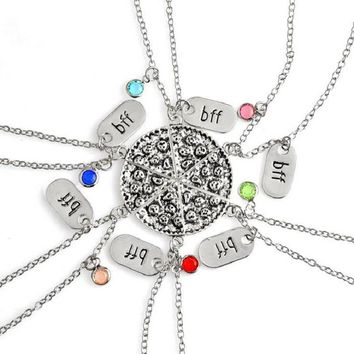 New Trendy Best Friends Alloy 6 Color Inlaid Crystal BFF Pendant Necklace 6 pcs/set Stitching Pizza Necklace Jewelry