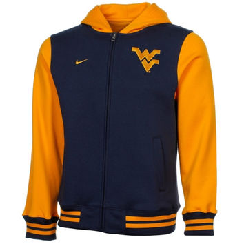 Nike West Virginia Mountaineers Youth Varsity Full Zip Hooded Jacket - Navy Blue/Gold - http://www.shareasale.com/m-pr.cfm?merchantID=7124&userID=1042934&productID=520950087 / West Virginia Mountaineers