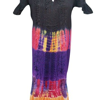 Mogul Womens Lounge Dress Multi Tie-Dye Embroidered Caftan Dress / Cover Up: Amazon.ca: Clothing & Accessories