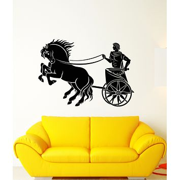 Vinyl Wall Decal Ancient Rome Caesar Chariot Horses Stickers (3253ig)