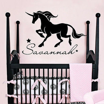 Personalized Name Wall Decals Horse Decal Girl Nursery Room Sticker Decor MR708