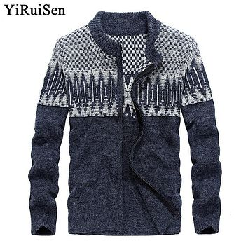 YIRUISEN Brand Mens Sweaters for 2017 Wool Sweatercoat With Zipper Cardigan For Men Warm Winter Clothing M-3XL B008