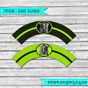 Zombie Ribcage Printable Cupcake Wrapper Set –  black and acid green wraps with ribcage image - printable party supplies - INSTANT DOWNLOAD