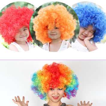 Clown Funny Colorful Cosplay Short Afro Wig For Adult and Children Cap Halloween Hair Synthetic Fiber Fan Hair