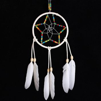 11.81-13.77inch Indian White Dream Catcher Star Feathers Wall Hanging Decoration Dreamcatcher Ornament Gift