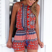 Boho Romper Style Playsuit in Red  ( 2-Days FREE SHIPPING)