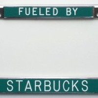 Fueled by Starbucks green-license plate frame