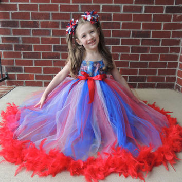 The Hair Bow Factory 4th of July  Red White and Blue Feather Tutu Dress Size 12-24 Months-8 4th of JULY