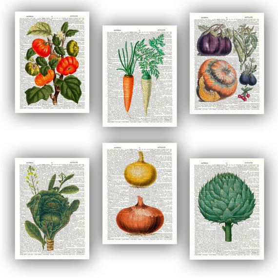 Kitchen Art Vegetables Print Botanicals Kitchen Art: Kitchen Art, Vegetable Prints, Set 6 From PrintLand On Etsy