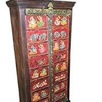 Antique Wardrobe Hand painted Ganesha Bohemian Cabinet Armoire Traditional Temple Doors